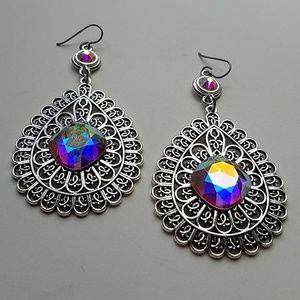 GASOLINE GLAMOUR Jewelry - GYPSY MEDALLION drop OPAL XL stone earrings new